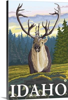Caribou in the Wild - Idaho: Retro Travel Poster