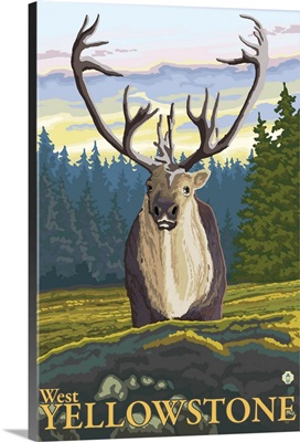 Caribou in the Wild - West Yellowstone, MT: Retro Travel Poster