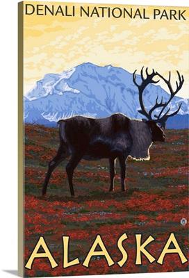 Caribou Scene - Denali National Park, Alaska: Retro Travel Poster