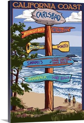 Carlsbad, California - Destination Sign: Retro Travel Poster
