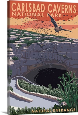 Carlsbad Caverns National Park, New Mexico - Natural Entrance: Retro Travel Poster