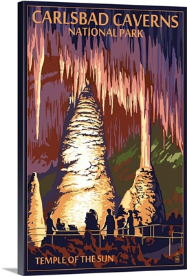 Carlsbad Caverns National Park, New Mexico - Temple of the Sun: Retro Travel Poster