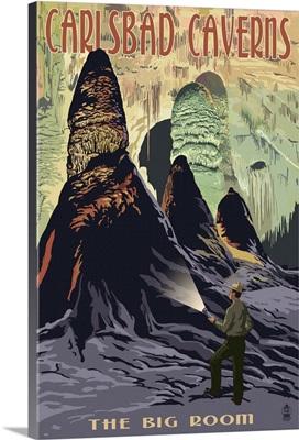 Carlsbad Caverns National Park, New Mexico - The Big Room: Retro Travel Poster