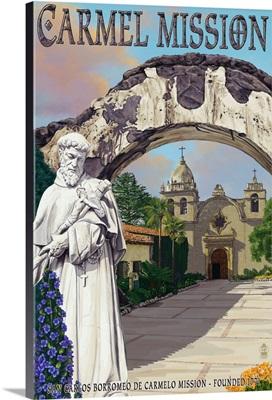 Carmel Mission, California: Retro Travel Poster