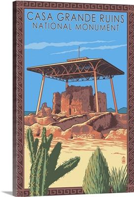 Casa Grande Ruins National Monument - Arizona: Retro Travel Poster