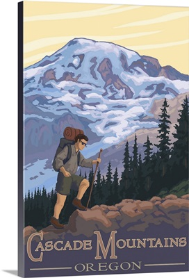 Cascade Mountains, Oregon - Hiking Scene: Retro Travel Poster