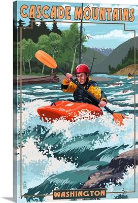 Cascade Mountains, Washington - Kayak Scene: Retro Travel Poster