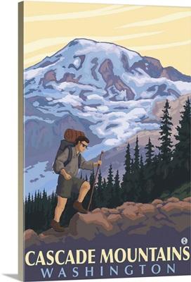Cascade Mountains, Washington - Mountain Hiker: Retro Travel Poster