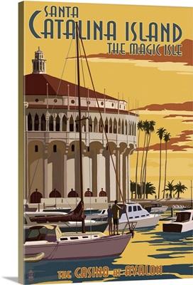 Catalina Island, California - Casino and Marina: Retro Travel Poster