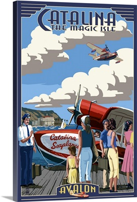 Catalina Island, California - Seaplane: Retro Travel Poster