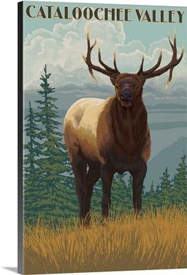 Cataloochee Valley, North Carolina - Elk Scene: Retro Travel Poster