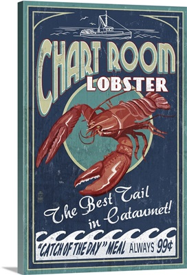 Cataumet, Cape Cod, Massachusetts - Chart Room Lobster Vintage Sign: Retro Travel Poster
