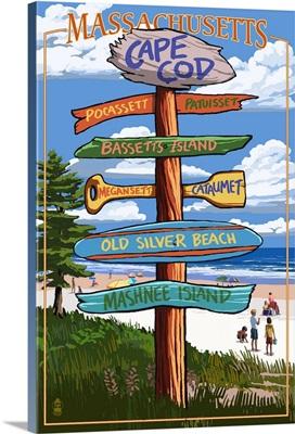 Cataumet, Cape Cod, Massachusetts - Sign Destinations: Retro Travel Poster