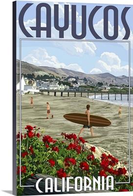 Cayucos, California -  Beach and Pier Scene: Retro Travel Poster