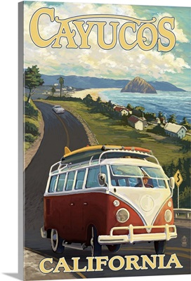 Cayucos, California - VW Van Coastal Drive: Retro Travel Poster