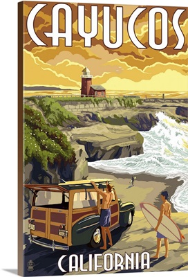Cayucos, California -  Woody and Lighthouse: Retro Travel Poster