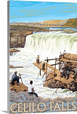 Celilo Falls - Columbia River, Oregon: Retro Travel Poster
