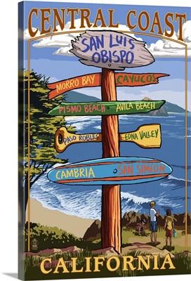 Central Coast, California - Destination Sign: Retro Travel Poster