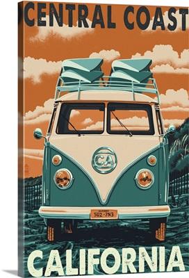 Central Coast, California - VW Van : Retro Travel Poster