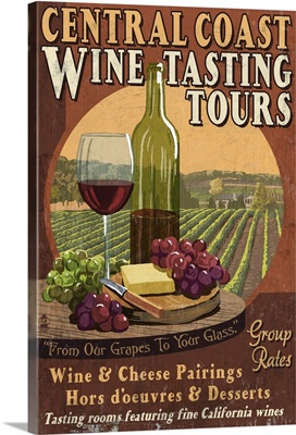 Central Coast, California - Wine Tasting Vintage Sign: Retro Travel Poster