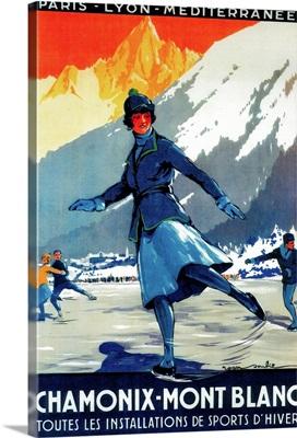 Chamonix-Mont Blanc Vintage Poster, Europe