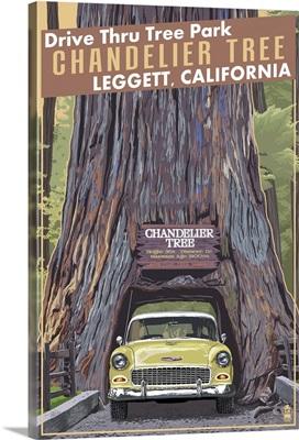 Chandelier Tree - Drive Thru Tree Park, Leggett, California: Retro Travel Poster
