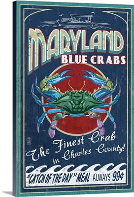 Charles County, Maryland, Blue Crab Vintage Sign