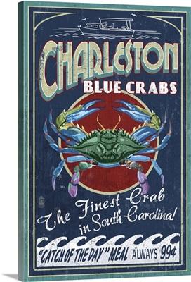 Charleston, South Carolina - Blue Crabs Vintage Sign: Retro Travel Poster