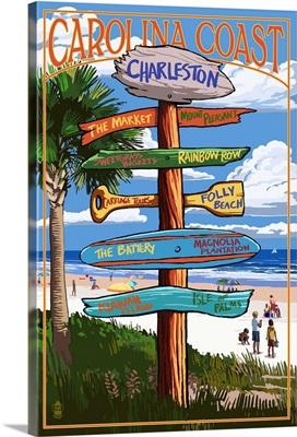 Charleston, South Carolina - Destination Signs: Retro Travel Poster