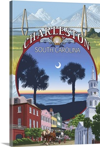 Charleston South Carolina Town Views Retro Travel Poster