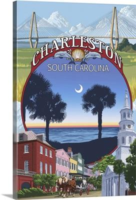 Charleston, South Carolina Town Views: Retro Travel Poster