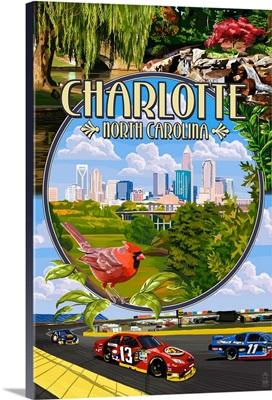 Charlotte, North Carolina - Montage Scenes: Retro Travel Poster