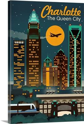 Charlotte, North Carolina - Retro Skyline: Retro Travel Poster