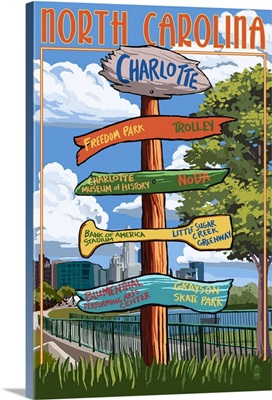 Charlotte, North Carolina - Signpost Destinations: Retro Travel Poster