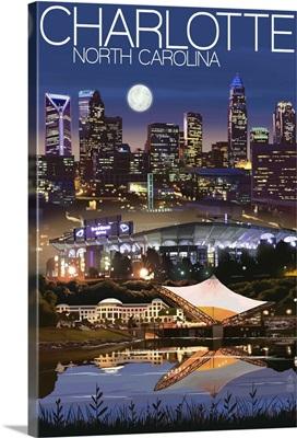 Charlotte, North Carolina - Skyline at Night: Retro Travel Poster