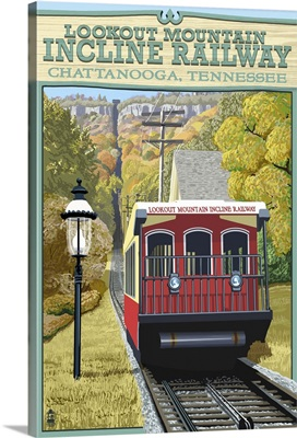 Chattanooga, Tennessee - Lookout Mountain Incline Railway: Retro Travel Poster