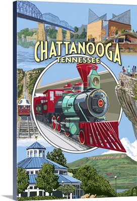 Chattanooga, Tennessee - Montage Scenes: Retro Travel Poster