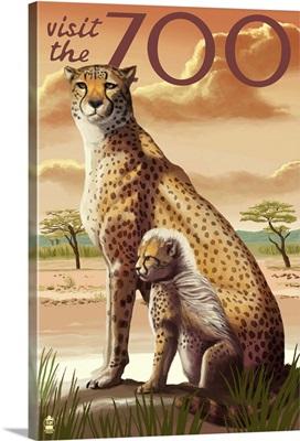 Cheetah - Visit the Zoo: Retro Travel Poster