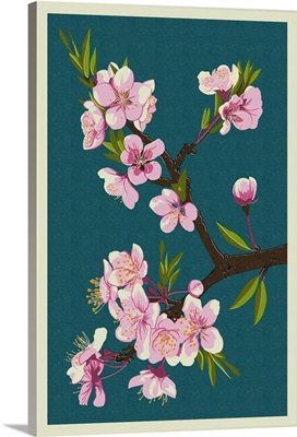 Cherry Blossoms - Letterpress: Retro Art Poster