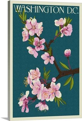 Cherry Blossoms - Washington DC: Retro Travel Poster