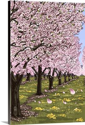 Cherry Orchard Blossoms: Retro Poster Art