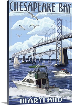 Chesapeake Bay Bridge - Maryland: Retro Travel Poster
