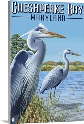 Chesapeake Bay, Maryland - Blue Heron: Retro Travel Poster