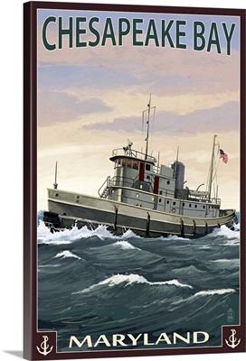 Chesapeake Bay Tugboat Scene: Retro Travel Poster