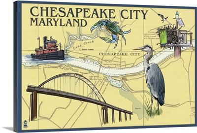 Chesapeake City, Maryland - Nautical Chart: Retro Travel Poster