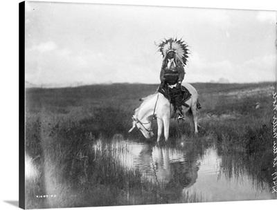Cheyenne Native American, Wearing Headdress, on Horseback