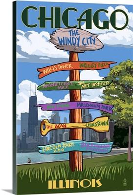 Chicago, Illinois - Destination Signpost: Retro Travel Poster