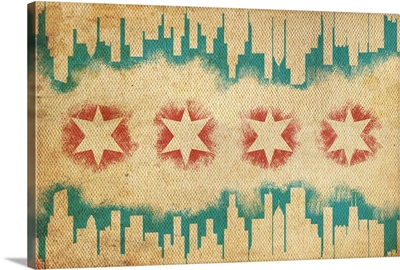 Chicago, Illinois, Flag and Skyline Tapestry