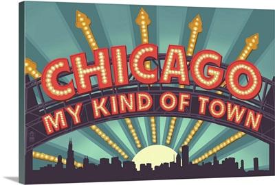 Chicago, Illinois - Marquee: Retro Travel Poster