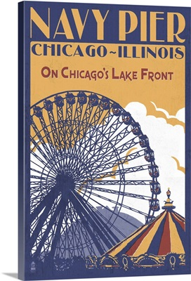 Chicago Illinois - Navy Pier: Retro Travel Poster
